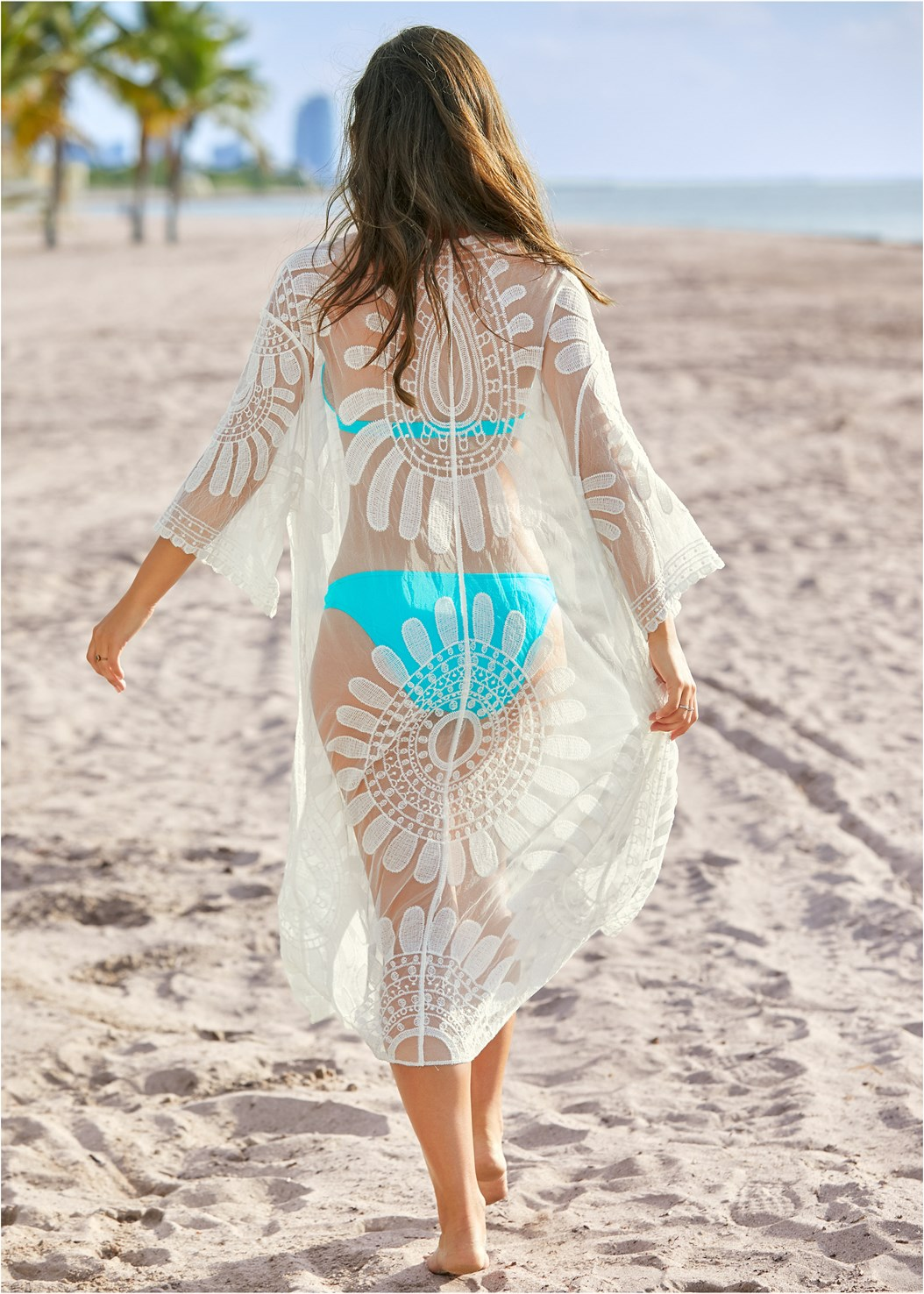 Lace Kimono Cover-Up,Goddess Enhancer Push Up Halter Top,Goddess Low Rise Bottom,Lacy Plunge One-Piece