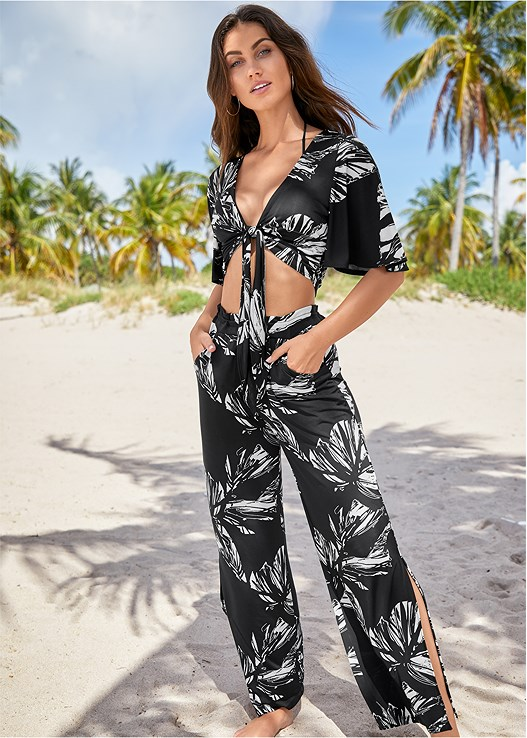 PALM LEAF TIE FRONT TOP,PALM LEAF COVER-UP PANTS