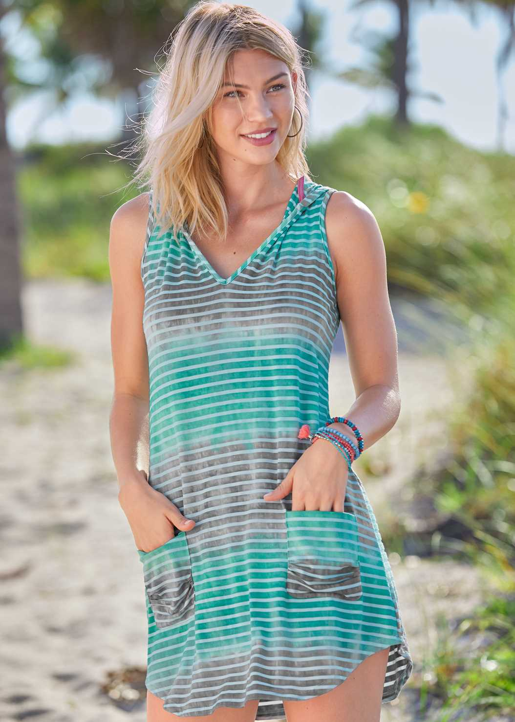 Hooded Pocket Cover-Up,Marilyn Underwire Push Up Halter Top,Scoop Front Classic Bikini Bottom ,Low Rise Classic Bikini Bottom
