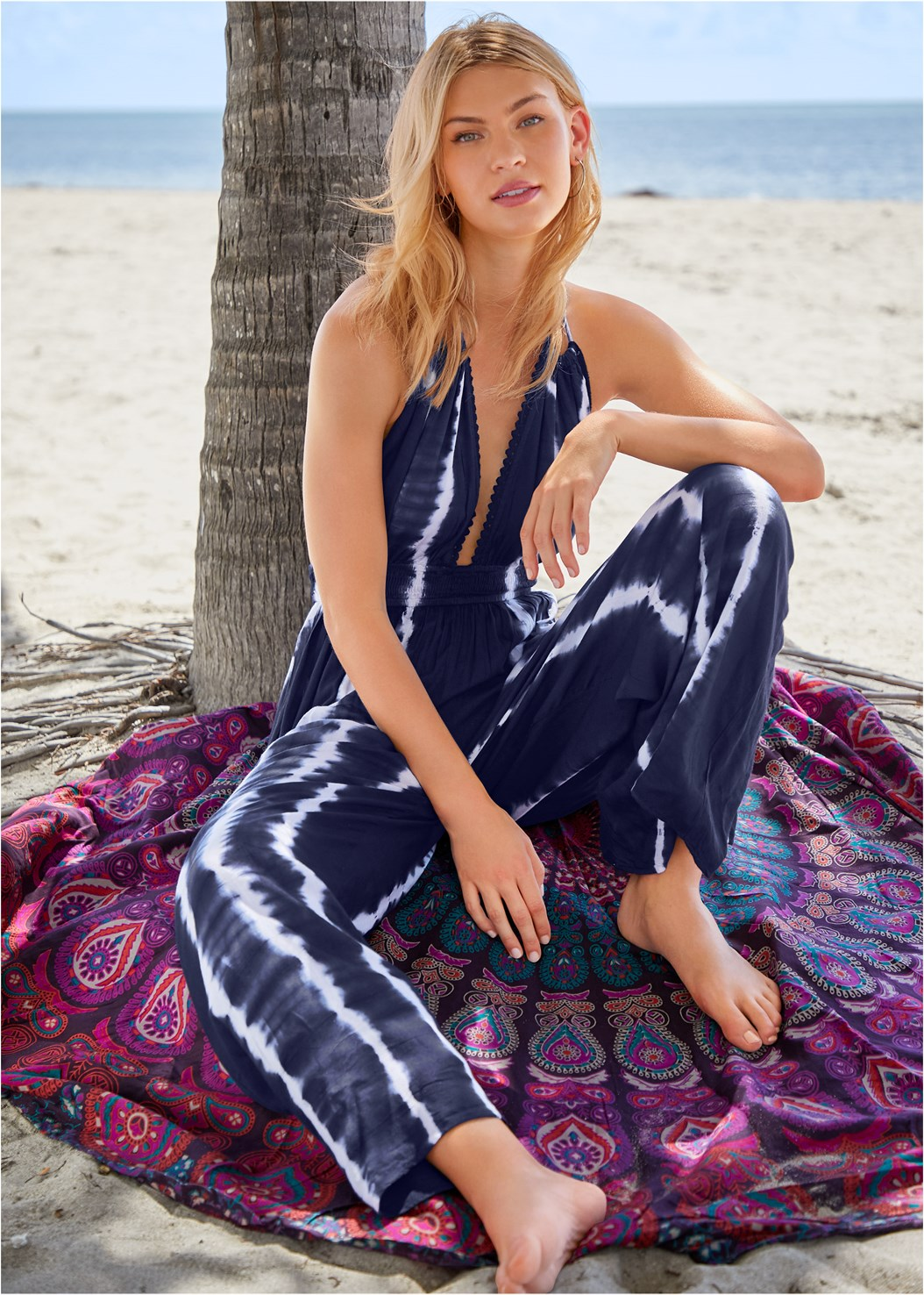Tie Dye Cover-Up Jumpsuit,Triangle String Bikini Top,Scoop Front Classic Bikini Bottom