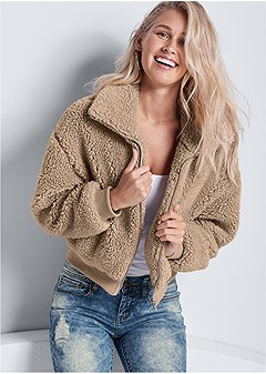 cropped teddy jacket