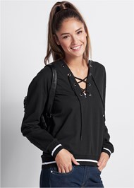 Front View Lace Up Sweatshirt