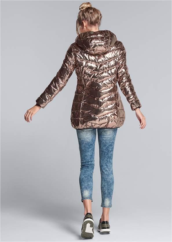 Back View Metallic Long Jacket