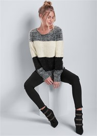 Front View Striped Cozy Sweater