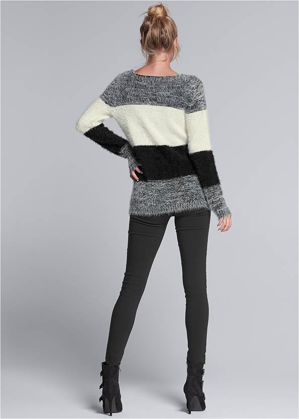 Back View Striped Cozy Sweater