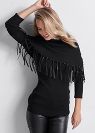 Front View Faux Leather Fringe Sweater