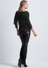 Back View Faux Leather Fringe Sweater