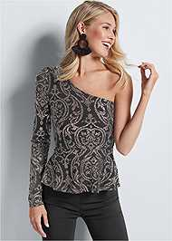 Front View One Shoulder Glitter Top