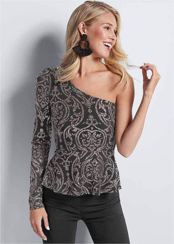 One Shoulder Glitter Top,Mid Rise Slimming Stretch Jeggings,High Heel Strappy Sandals,Beaded Tassel Earrings