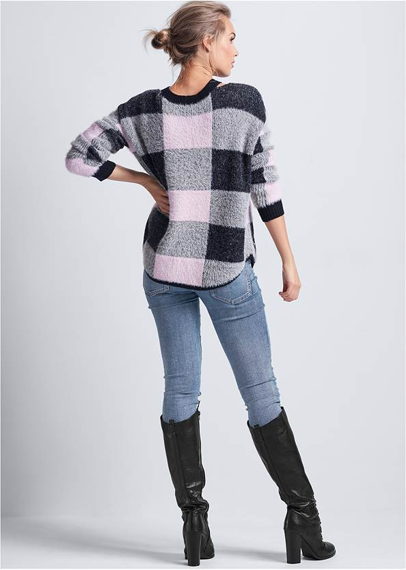 Back View Cozy Plaid Sweater