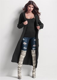 Full front view Ribbed Hooded Duster