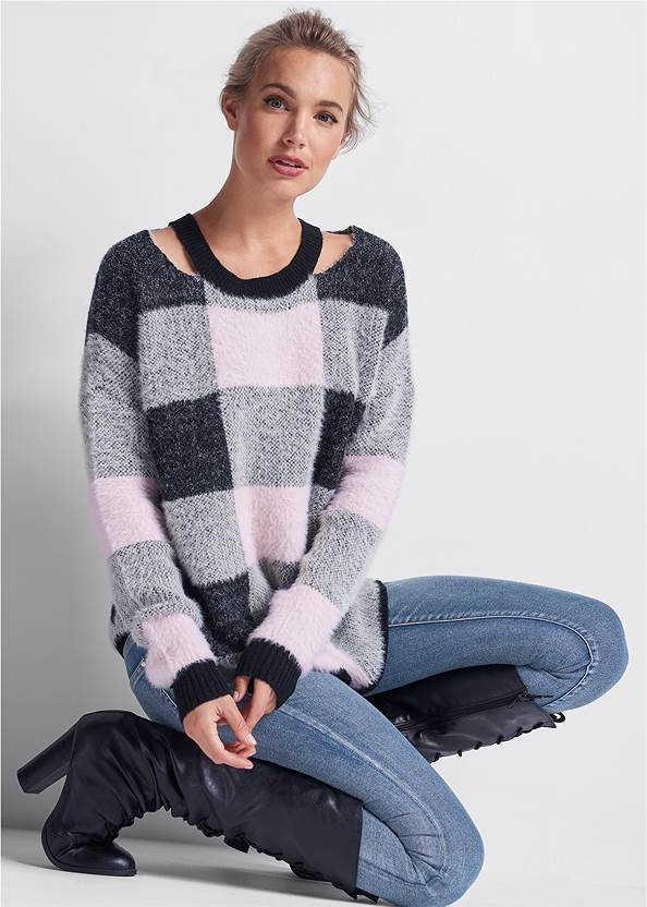 Cozy Plaid Sweater,Mid Rise Color Skinny Jeans