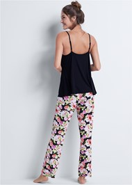 Back View Floral Print Sleep Pant Set