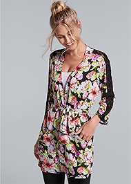Front View Floral Print Robe