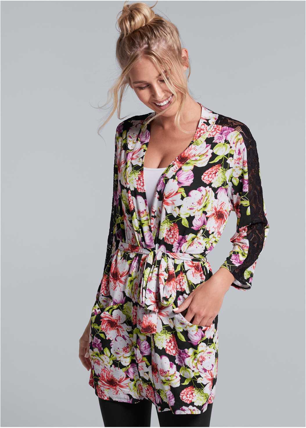 Floral Print Robe,Basic Cami Two Pack,Basic Leggings,Satin Lace Bra/Thong Set