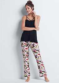 Front View Floral Print Sleep Pant Set