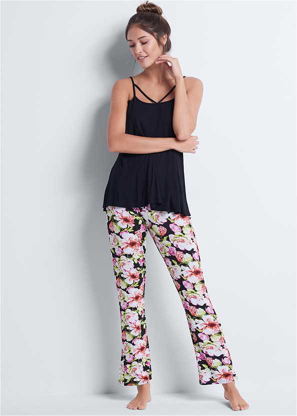 Floral Print Sleep Pant Set,Natural Beauty Lace Bandeau
