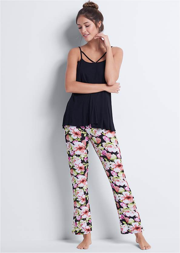 Floral Print Sleep Pant Set,Natural Beauty Lace Bandeau