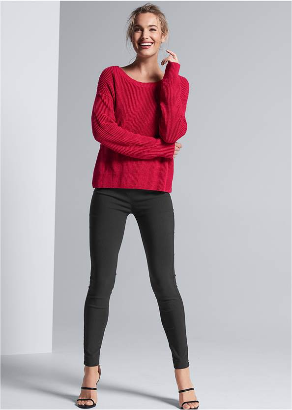 Front View Pearl Twist Back Sweater