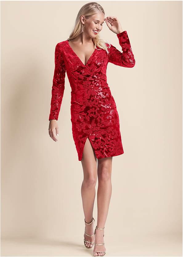 Front View Sequin Velvet Detail Dress