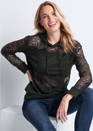 Cropped Front View Lace Detail Sweatshirt