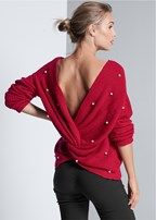 pearl twist back sweater