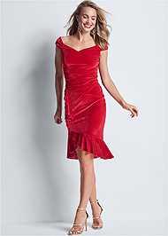 Full front view Velvet Ruffle Midi Dress