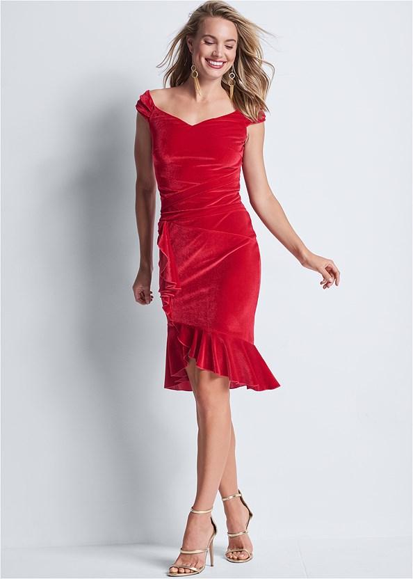 Velvet Ruffle Midi Dress,High Heel Strappy Sandals