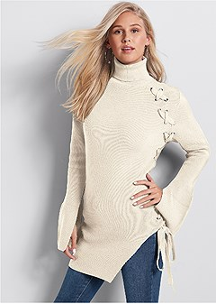 long lace up sweater