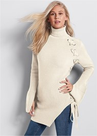 Front View Long Lace Up Sweater