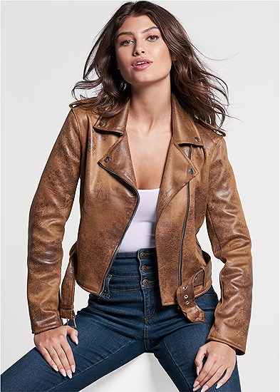 Distressed Moto Jacket