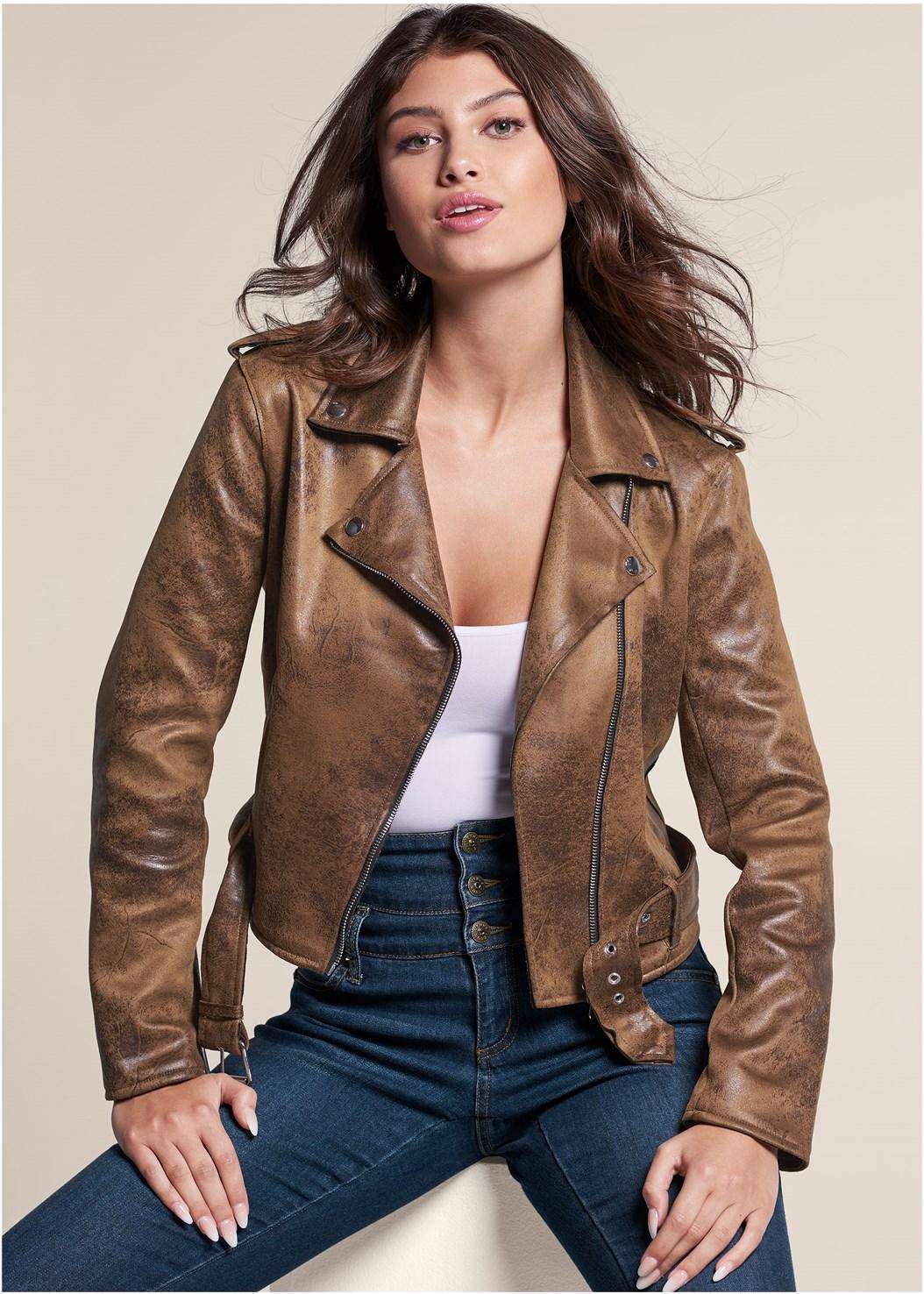 Distressed Moto Jacket,Seamless Cami,High Waisted Skinny Jeans