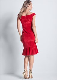 Full back view Velvet Ruffle Midi Dress