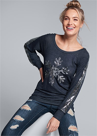 Sequin Graphic Lounge Top