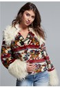 Front View Printed Faux Fur Coat