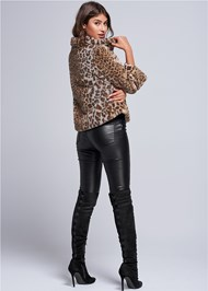 Back View Faux Fur Leopard Print Coat