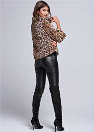 Back View Faux Fur Leopard Print Coat