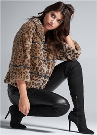 Front View Faux Fur Leopard Print Coat