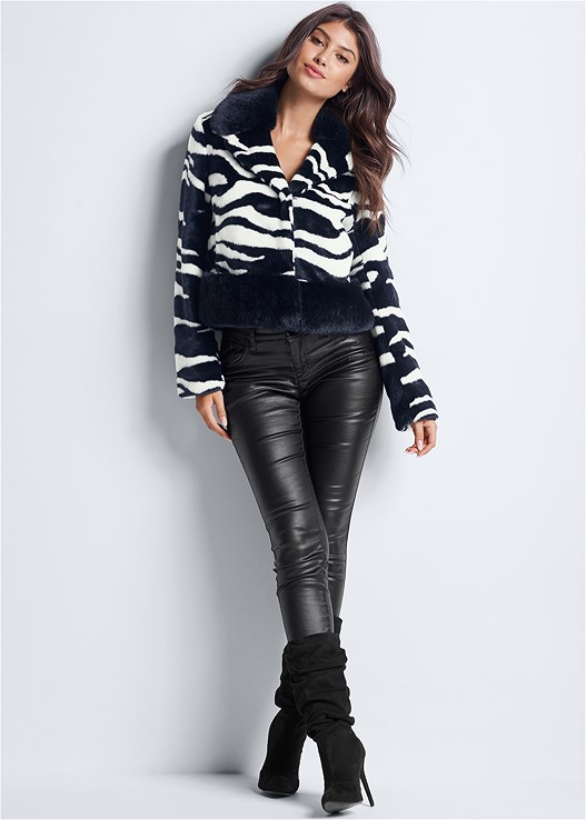 FAUX LEATHER PANTS,SEAMLESS CAMI,FAUX FUR ZEBRA PRINT COAT,HIGH HEEL SLOUCH BOOT