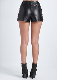 Back View Faux Leather Lace Up Shorts
