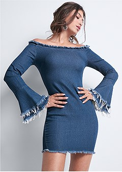 denim off shoulder dress