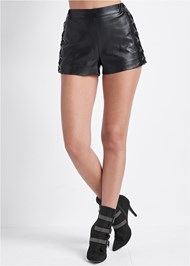 Front View Faux Leather Lace Up Shorts