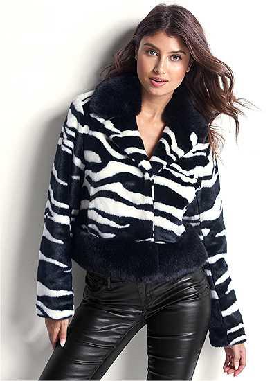 Faux Fur Zebra Print Coat