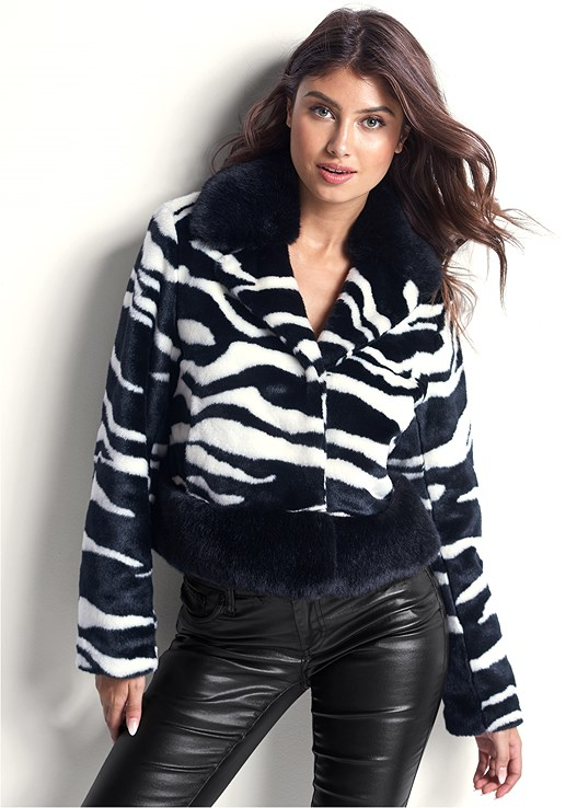 FAUX FUR ZEBRA PRINT COAT,FAUX LEATHER PANTS,HIGH HEEL SLOUCH BOOT
