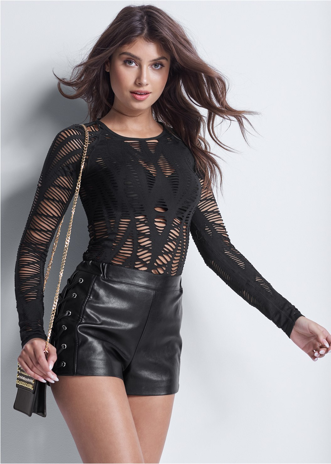 Faux Leather Lace Up Shorts,Seamless Cut Out Top,Buckle Detail Booties,Lurex Detail Scarf