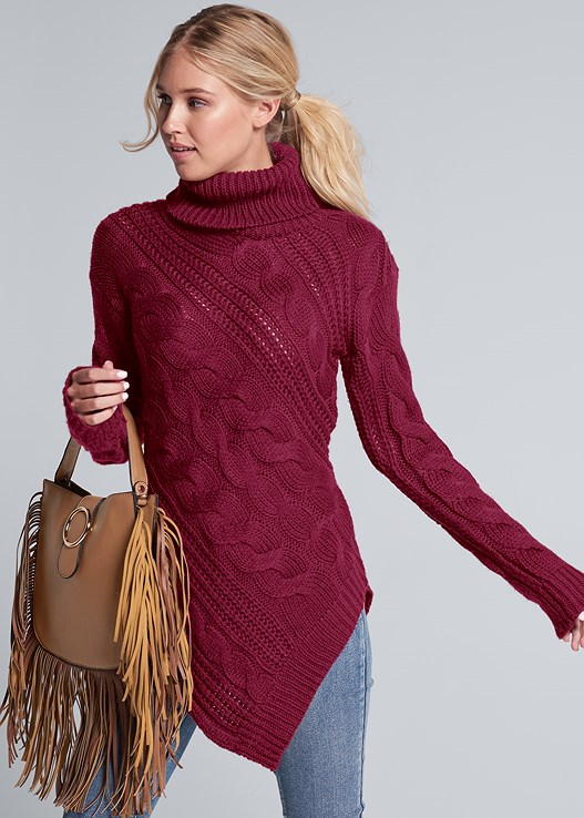TUNIC LENGTH TURTLENECK,COLOR SKINNY JEANS,LACE UP TALL BOOTS,FRINGE HANDBAG