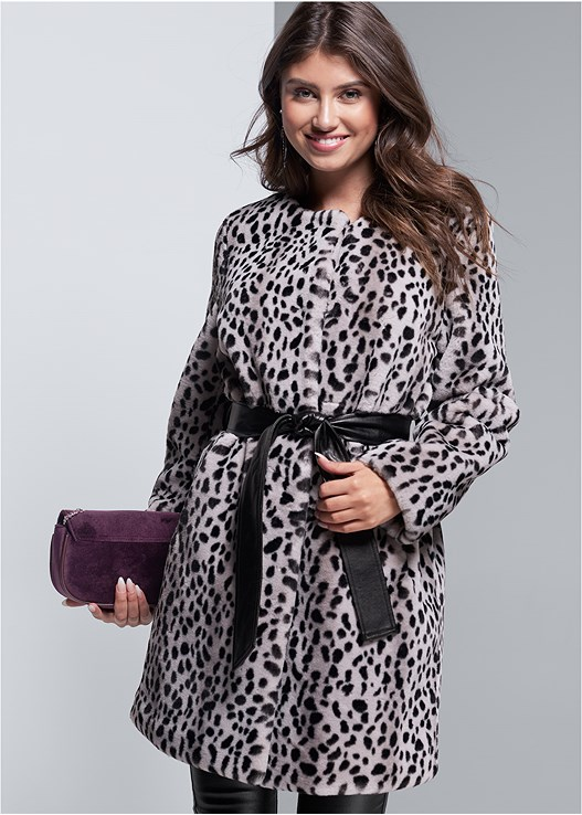 FAUX FUR ANIMAL PRINT COAT,FAUX LEATHER PANTS,FRINGE DETAIL HEEL,EMBELLISHED CROSSBODY