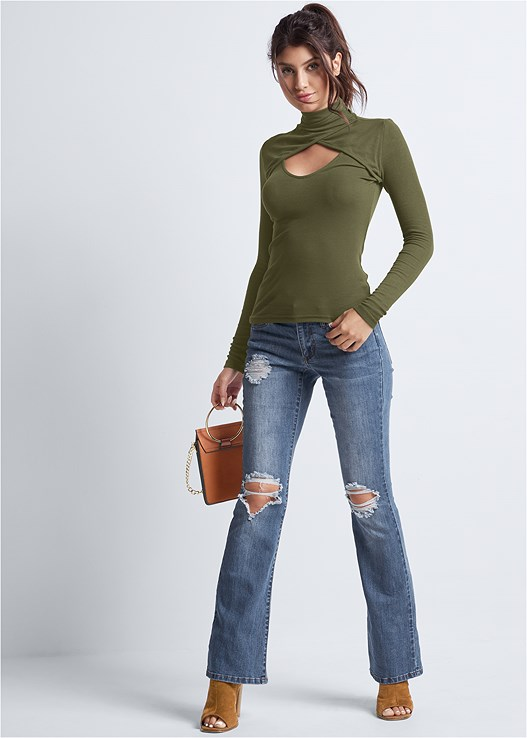 DISTRESSED BOOTCUT JEANS,CUT OUT MOCK NECK TOP,LACE BACK HIPSTER,RING DETAIL BAG