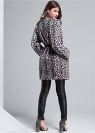 Back View Faux Fur Animal Print Coat
