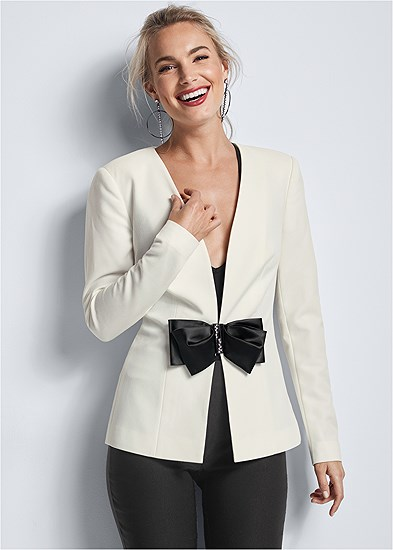 bow detail blazer